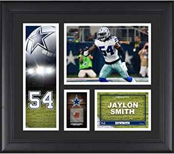 """b219149c6 Jaylon Smith Dallas Cowboys Framed 15"""" x 17"""" Player Collage with  a Piece of"""