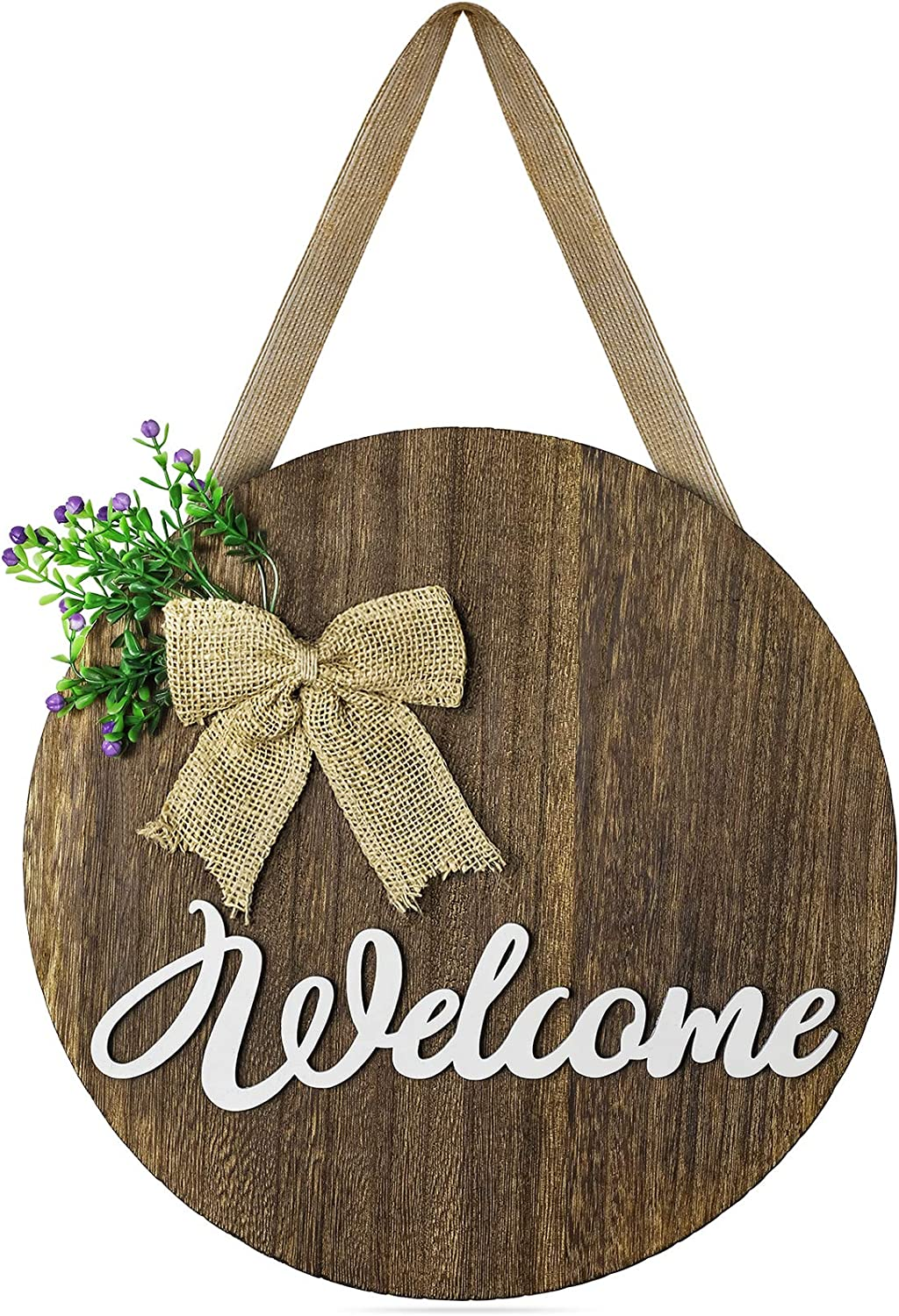 TJ.MOREE Welcome Sign for Front Door, Farmhouse Porch Sign,Rustic Wooden Door Decorations Wreaths Front Door Decorations Hanging with Flowers and Bow