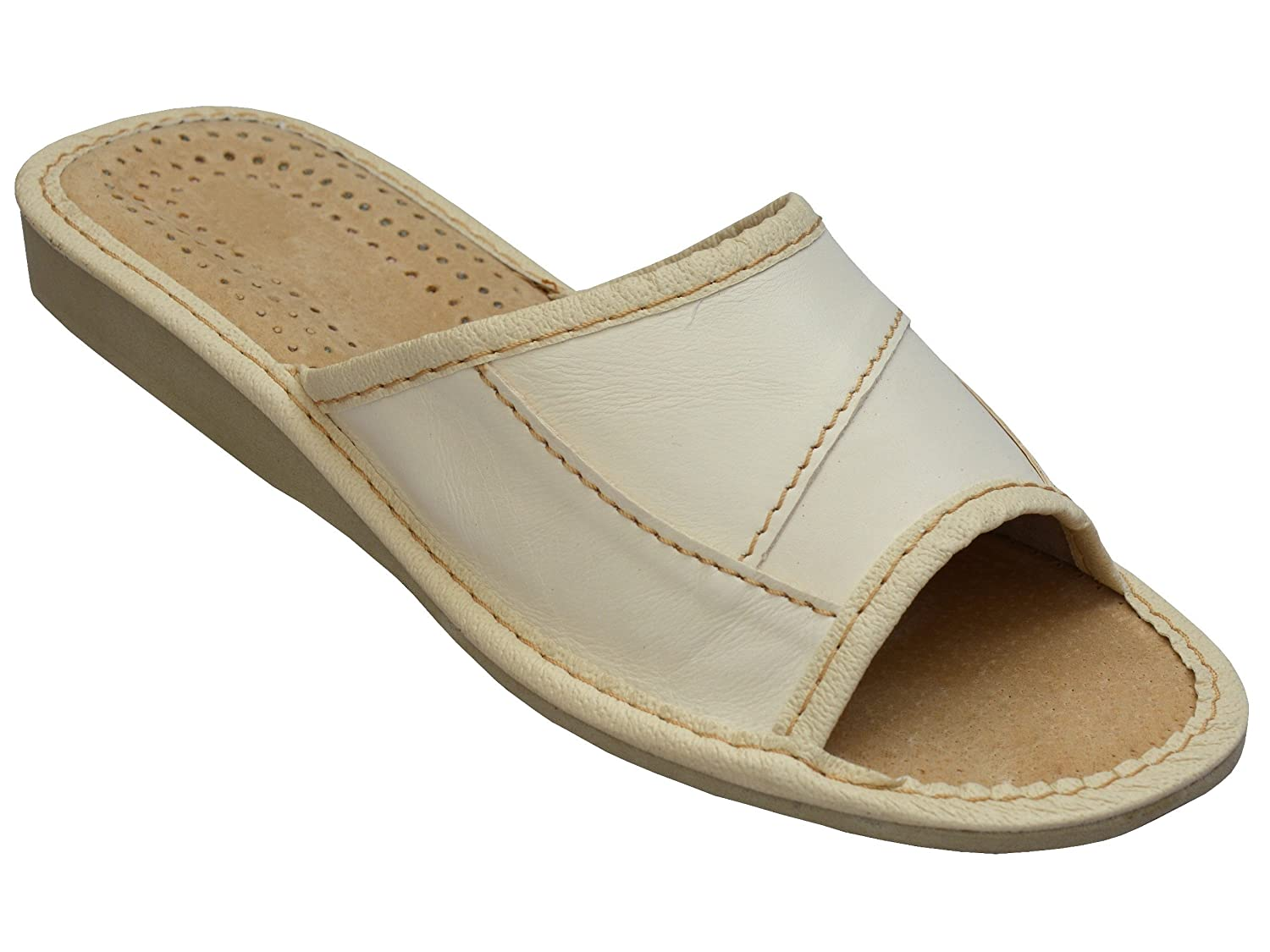BeComfy Cuir Chaussons Beige Confort Naturel Cuir Chaussons BeComfy Pantoufles Taille 35-41 Beige 61e555b - deadsea.space