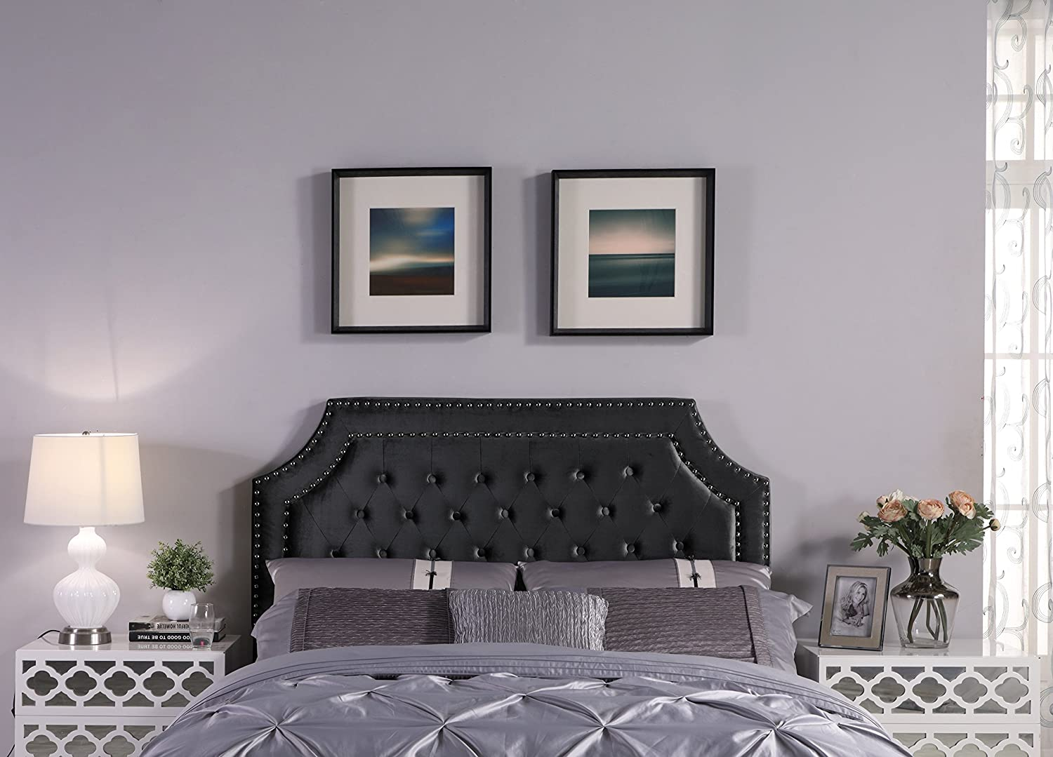 Iconic Home Chava Headboard Velvet Upholstered Button Tufted Double Row Silver Nailhead Trim Modern Transitional, Twin, Black