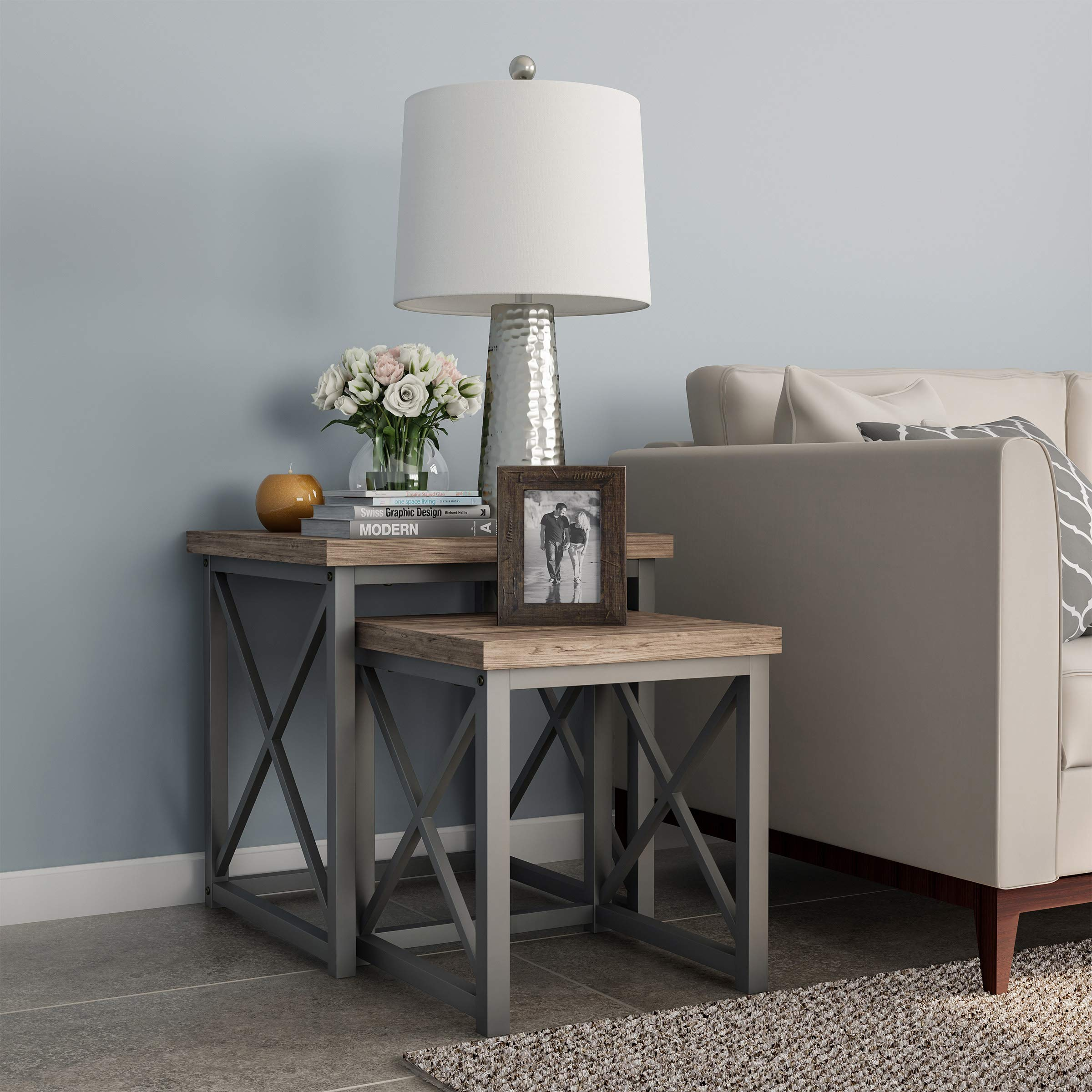 Lavish Home 80-FNT-2 Nesting Set of 2, Modern Woodgrain Look for Living Room Coffee Tables or Nightstands-Contemporary Home Accent Furniture (Gray), Tan, Tan by Lavish Home