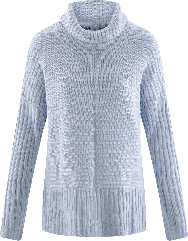 oodji Ultra Mujer Jersey Texturizado Holgado, Azul, ES 38 / S ...