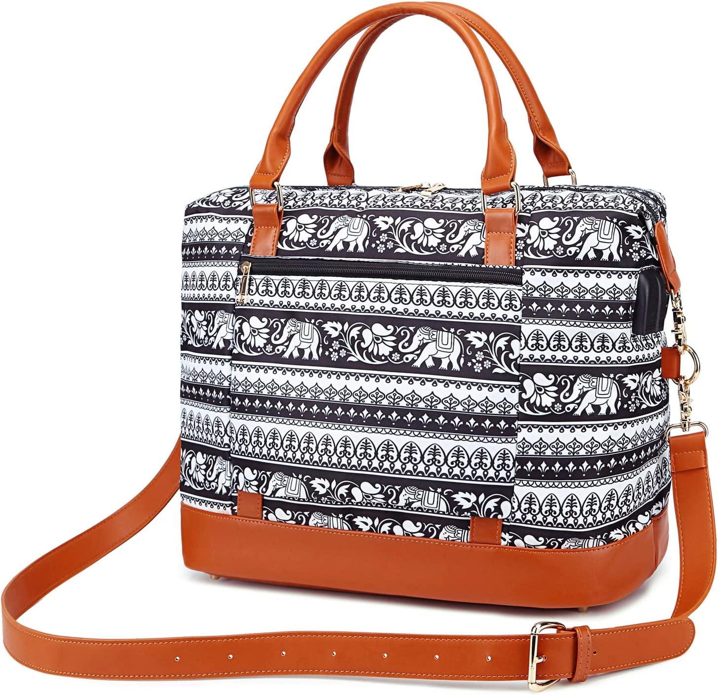 Weekender Bag Women Overnight Travel Tote Bag Carry-on Duffle Bag Water Resistant Travel Bag with Shoulder Strap and USB Charging Port
