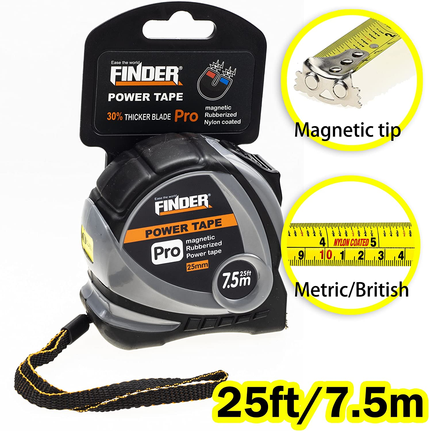Finder Magnetic Tape Measure, Measuring Tape Self Lock 25-Foot(7.5 Meter) Metric and Inches Retractable Measuring Tape with Wrist Strap for Construction, Craft, Home, Carpentry Measurement