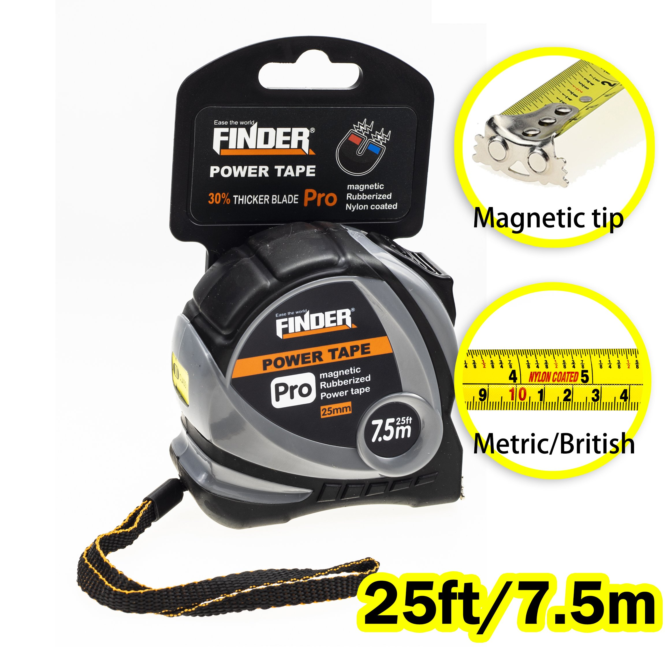 Finder Magnetic Tape Measure, Measuring Tape Self Lock 25ft (0.75) Inch/cm Metric, Retractable Measuring Tape with Wrist Strap for Construction, craft, Home, Carpentry Measurement