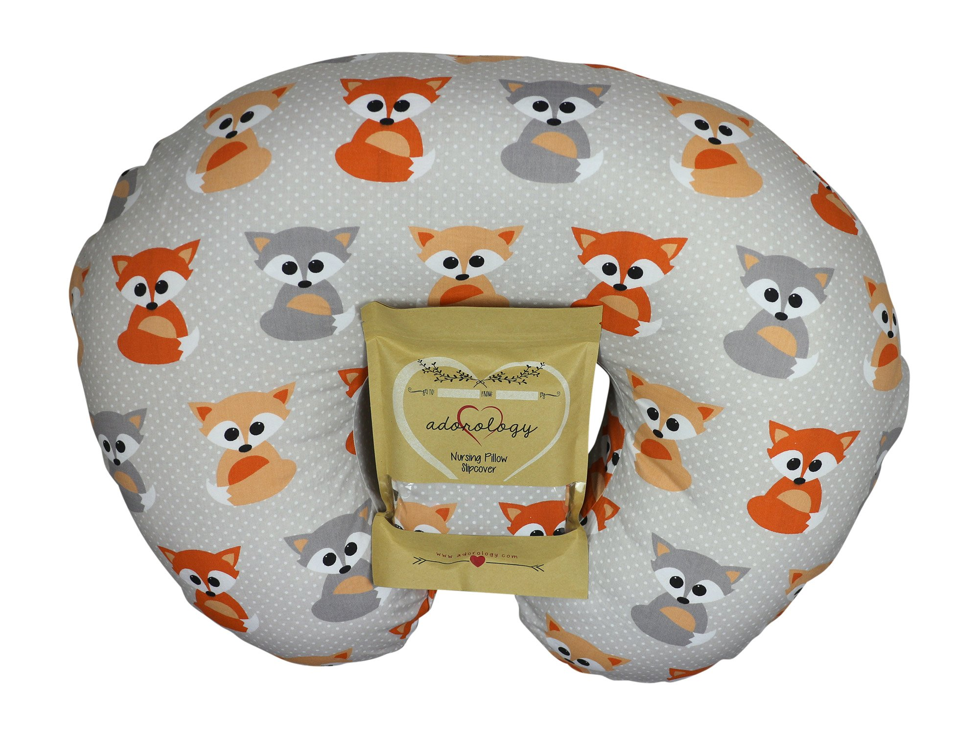 Nursing Pillow Slipcover Baby Gray Foxes Design Maternity Breastfeeding Newborn Infant Feeding Cushion Cover Case Baby Shower Gift for New Moms by Adorology