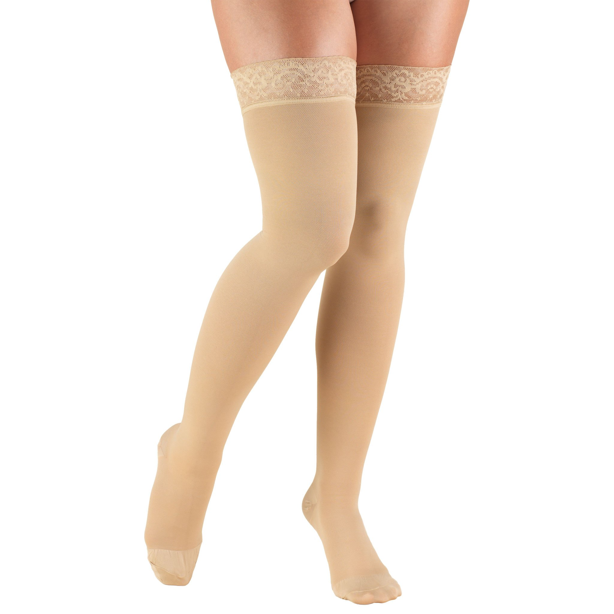 Truform Women's Closed Toe, Thigh High 20-30 mmHg Compression Stockings, Lace Top, Beige, Medium