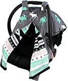 Dear Baby Gear Deluxe Car Seat Canopy, Reversible Custom Minky Print Black, Grey, Mint Moose, Aztec Minky
