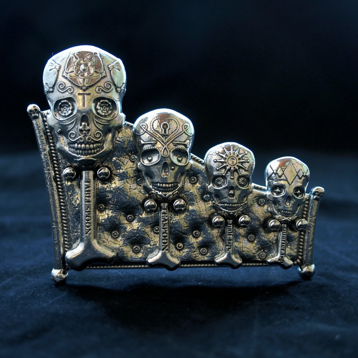 Calavera Measuring Spoons with Display Stand cast in Pewter by Roosfoos
