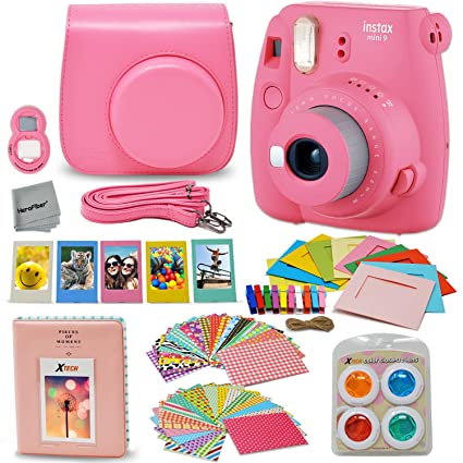 Fujifilm Instax Mini 9 Instant Fuji Camera (Flamingo Pink) + Accessories  Bundle + Custom 119b6a5325ff