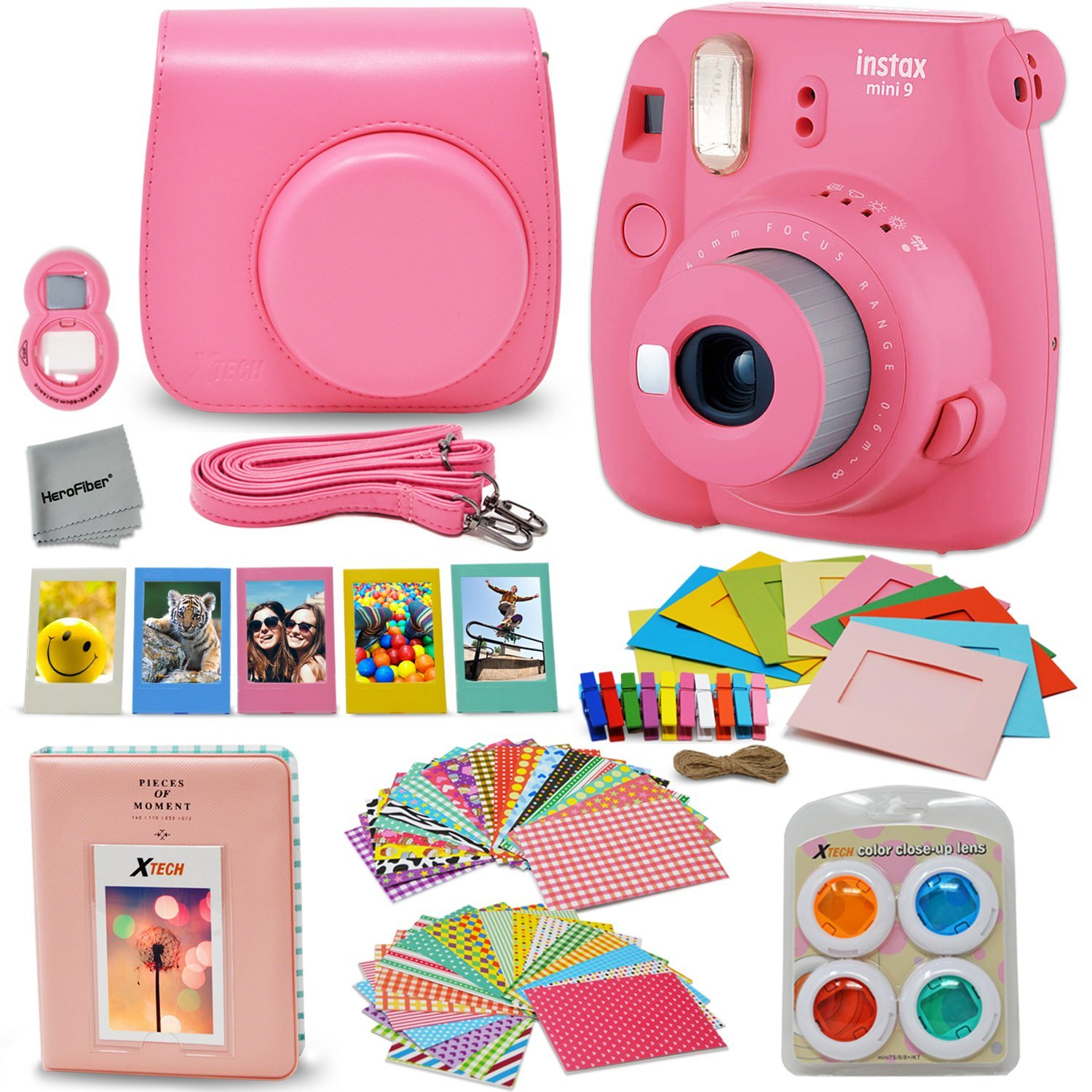 Fujifilm Instax Mini 9 Instant Fuji Camera (FLAMINGO PINK) + Accessories Bundle + Custom Matching Case w/Neck Strap + Photo Album + Assorted Frames + 4 Color Filters + 60 Sticker Frames + MORE by HeroFiber