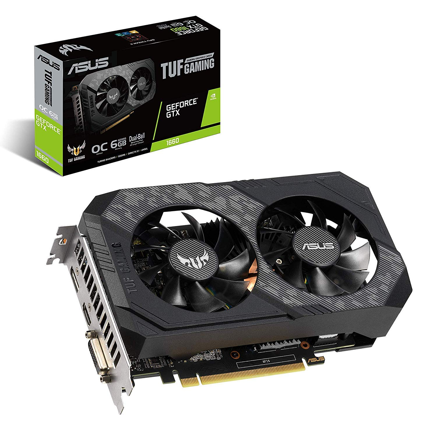 ASUS TUF Gaming GeForce GTX 1660 Overclocked 6GB Dual-Fan Edition HDMI DP DVI Gaming Graphics Card (TUF-GTX1660-O6G-Gaming)