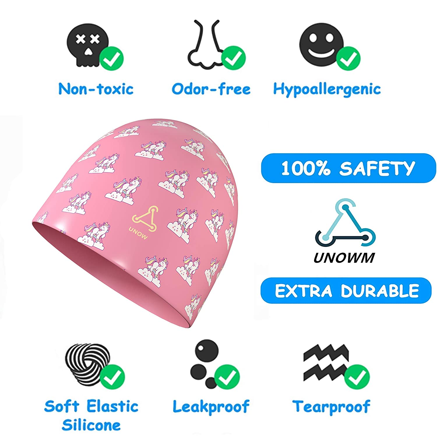 FUNOWN Kids Swim Caps for Kids Baby Waterproof Bathing Caps for Long and Short Hair Children Boys and Girls Aged 2-8