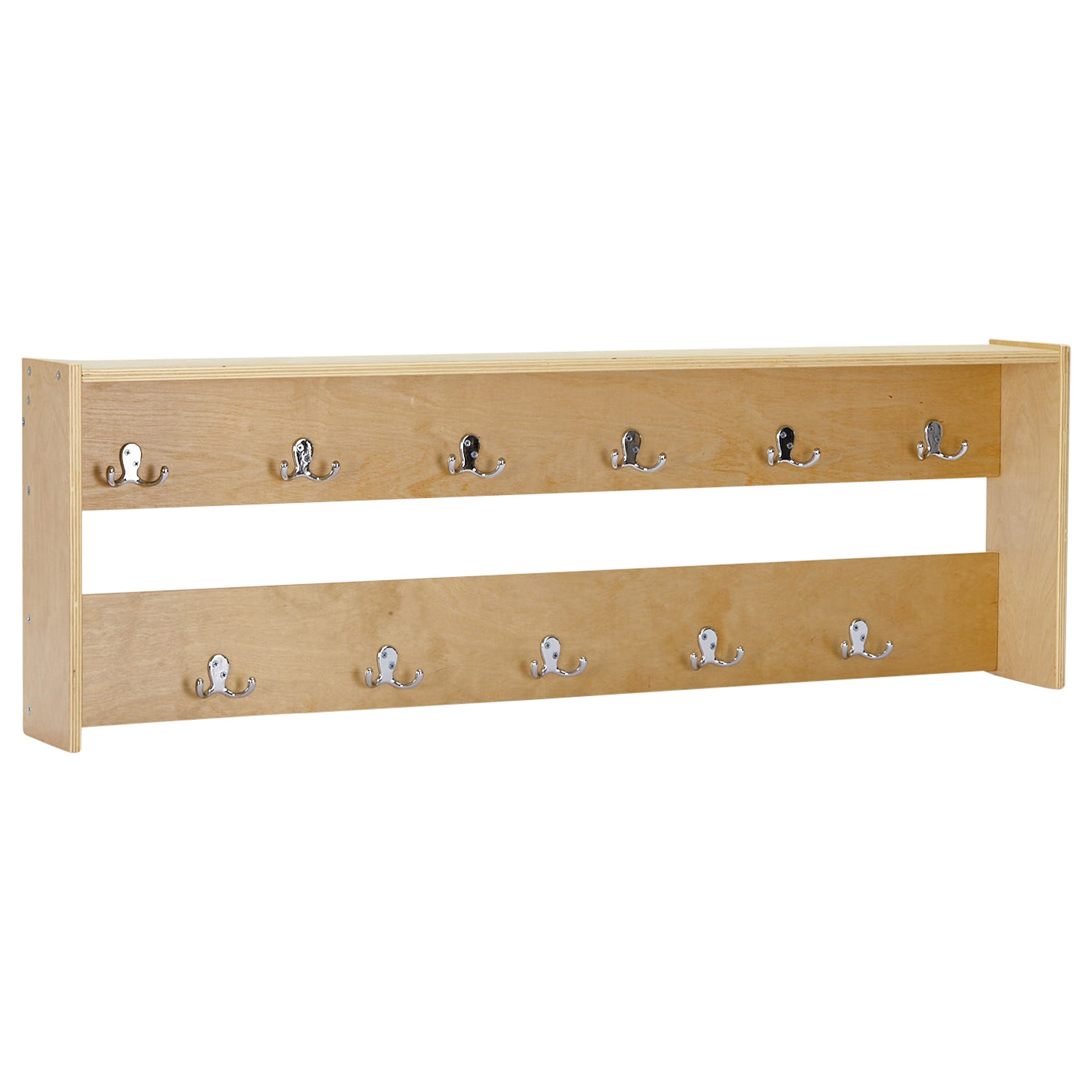 ECR4Kids Wood Wall Mounted Hook Cabinet - 11 Double Coat Hooks for School Backpacks or Jackets