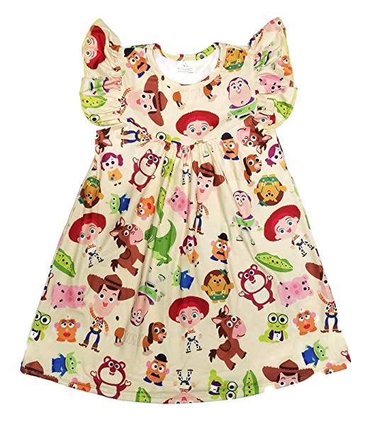 0654997817a Great Lakes Kids Apparel -- Toy Story Flutter Milk Silk Dress - Gorgeous -  Wrinkle Free - Buzz Lightyear, Woody