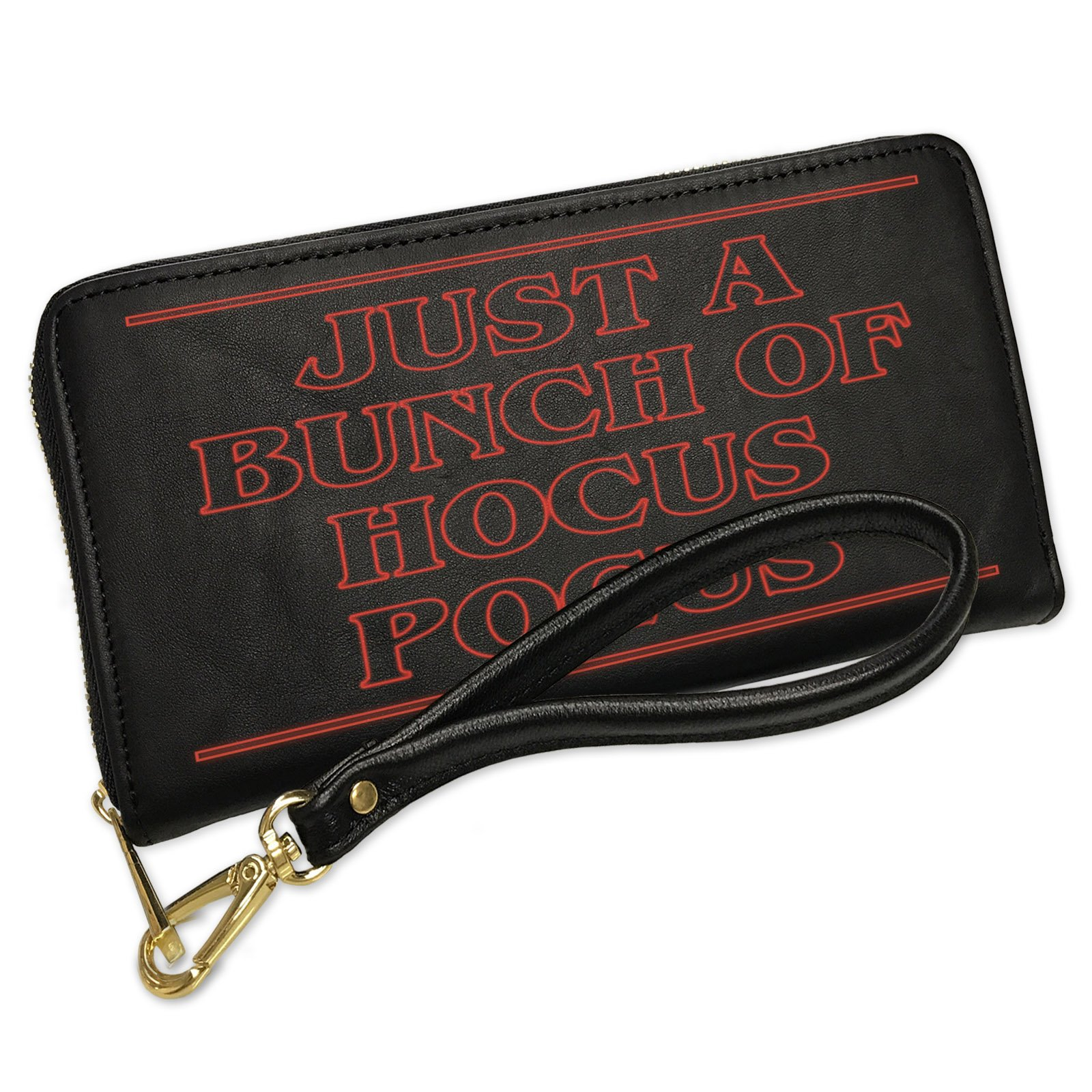 Wallet Clutch Just A Bunch of Hocus Pocus Halloween Strange and Spooky with Removable Wristlet Strap Neonblond
