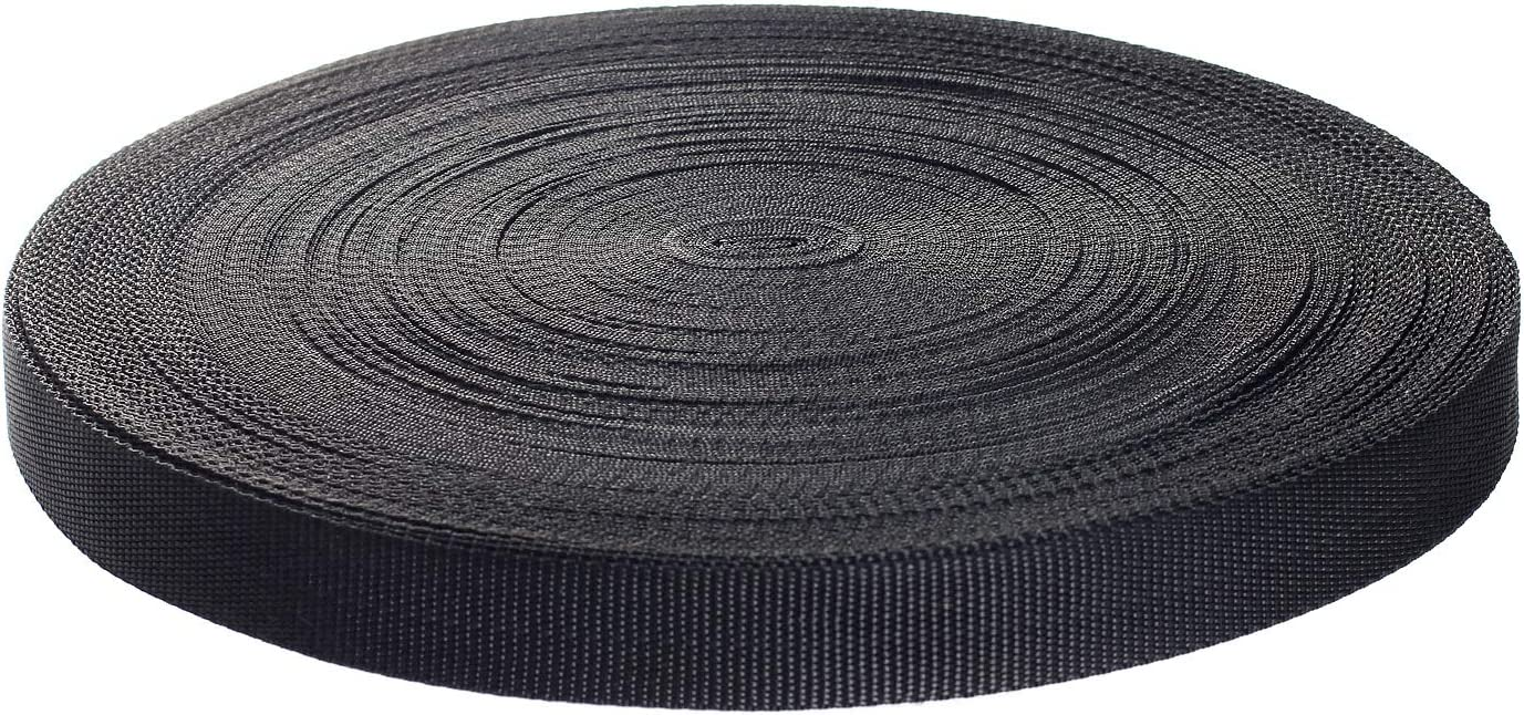 50 metros x 25mm Correa de correas de polipropileno - 1,4mm espesor - multiusos PP Cinta para bricolaje Craft Mochila Flejes Delantal Bolsas, negro TKB5070 black