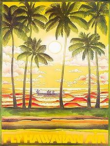 "Fly Hawaiian Air Metal Sign Beach House Polynesian Decor Vintage Aluminum Metal Signs Tin Plaques Wall Poster for Garage Man Cave Beer Cafee Bar Pub Club Home Decor 8""x12"""