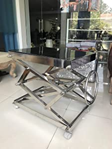 Industrial Scissor Lift Table Stainless Steel - Coffee Table Office Decor, Living Room Home Decor