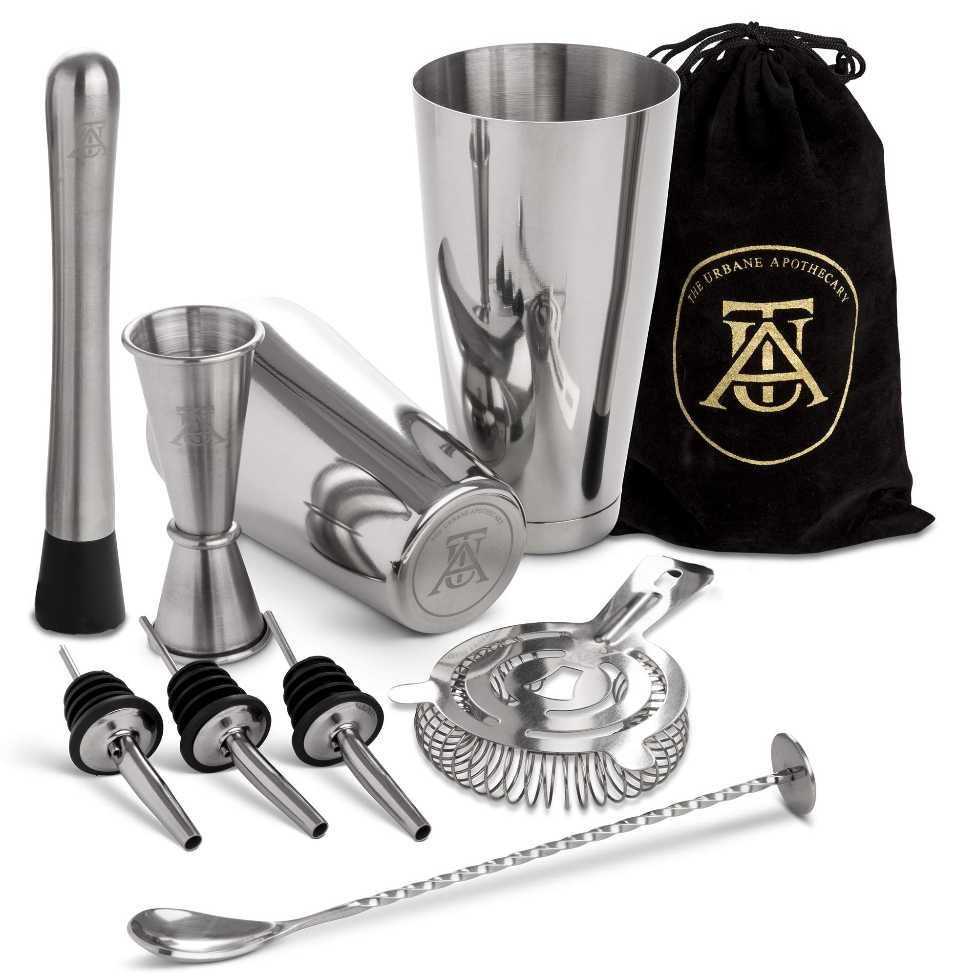 Boston Cocktail Shaker Set  -  Professional Bar Drink Mixing Supplies  - Ultimate Collection  Bartender Muddler Kit ,  Stainless Steel Martini Shakers , Gold with Black Velvet Sleeve