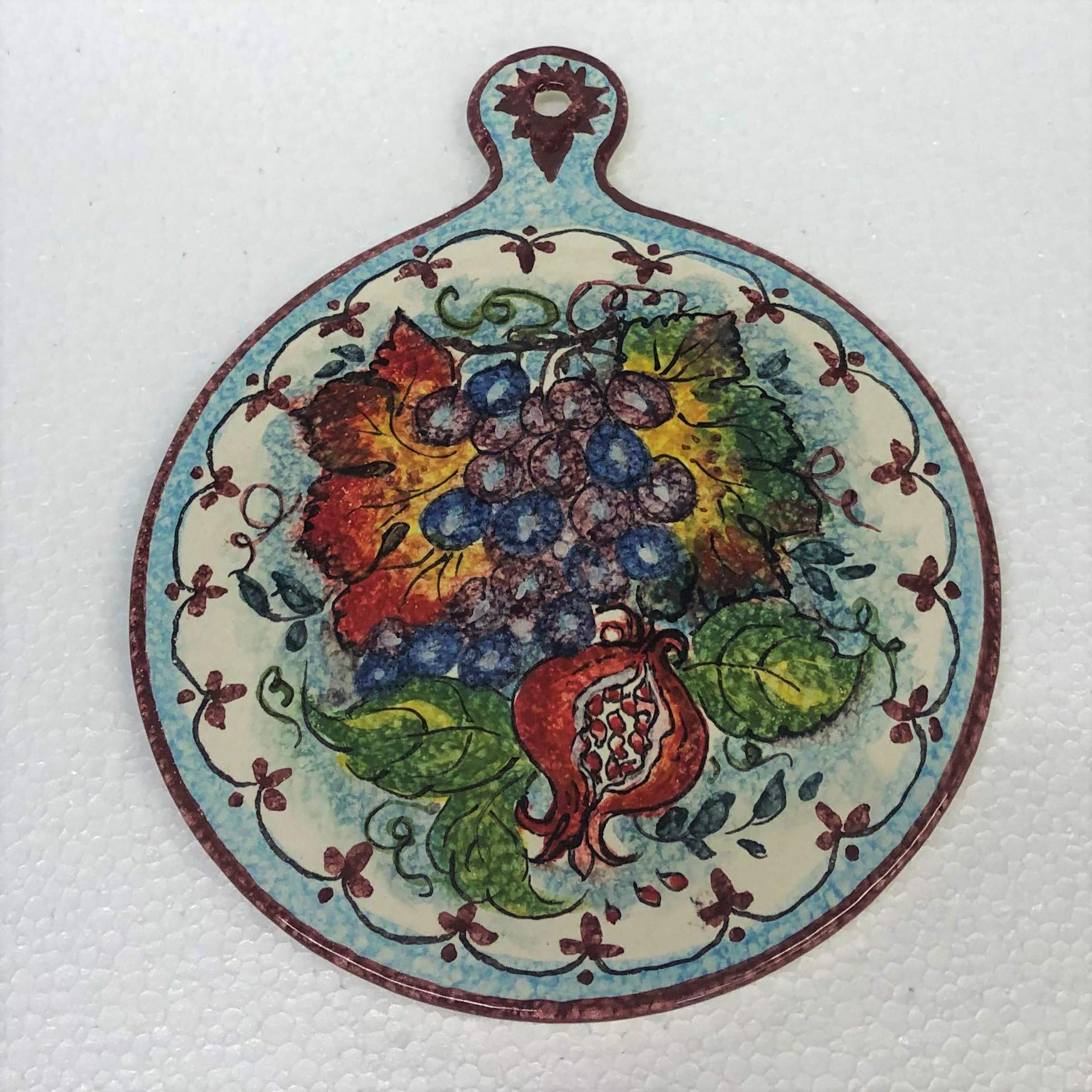 CERAMICHE PARRINI - Italian Ceramic Art Kitchenware Tile Small Trivet Pottery Decorated Tuscan Grape Hand Painted Made in ITALY by CERAMICHE D'ARTE PARRINI since 1979