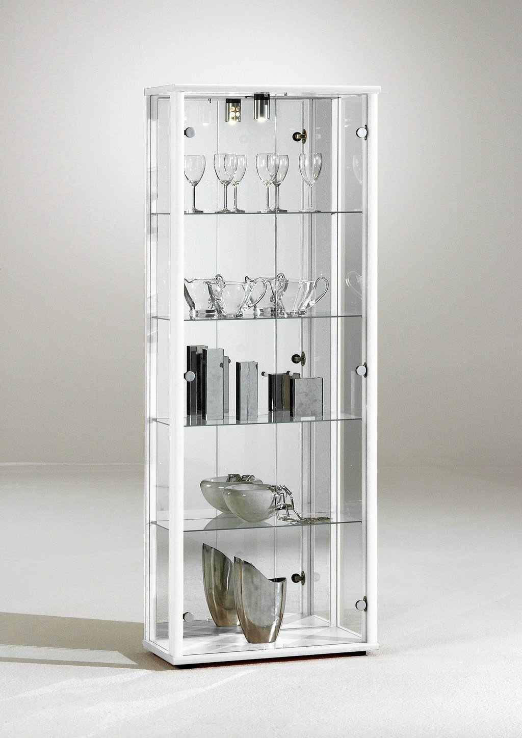 Space Range Corner Glass Display Cabinet, Wood, White, Double, 55 x 55 x 176 cm Compac SPACE3006WHT