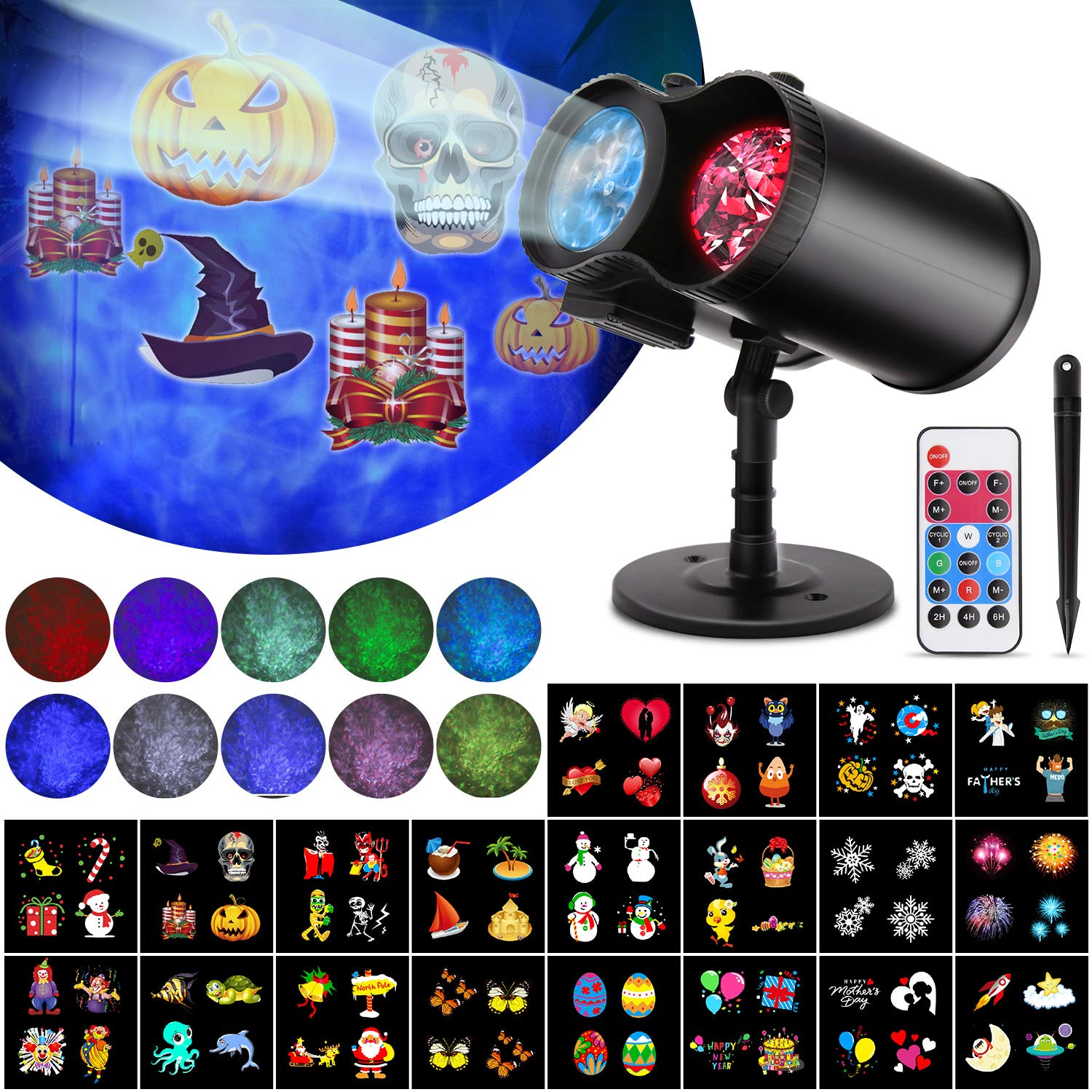 Christmas Halloween Projector Lights, 2-in-1 Ocean Wave Projector Lights Waterproof Indoor Outdoor Holiday Lights 10 Colors 20 Slides Moving Patterns for Christams Valentine's Easter Birthday Party by Vozada