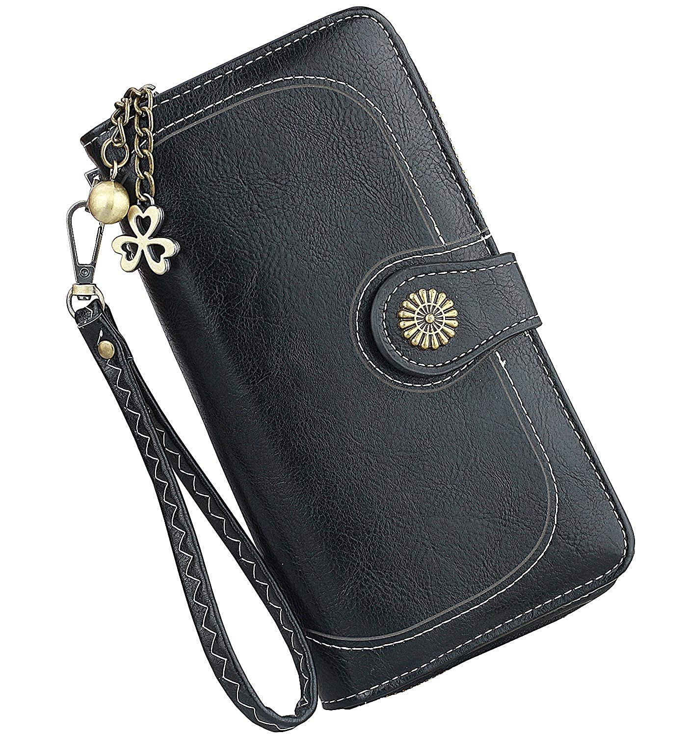 fe41e170ad08 Women Wallets,Vintage Ladies PU Leather Wallets,Long Trifold Clutch Travel  Purse, Large Capacity Zipper Wallet