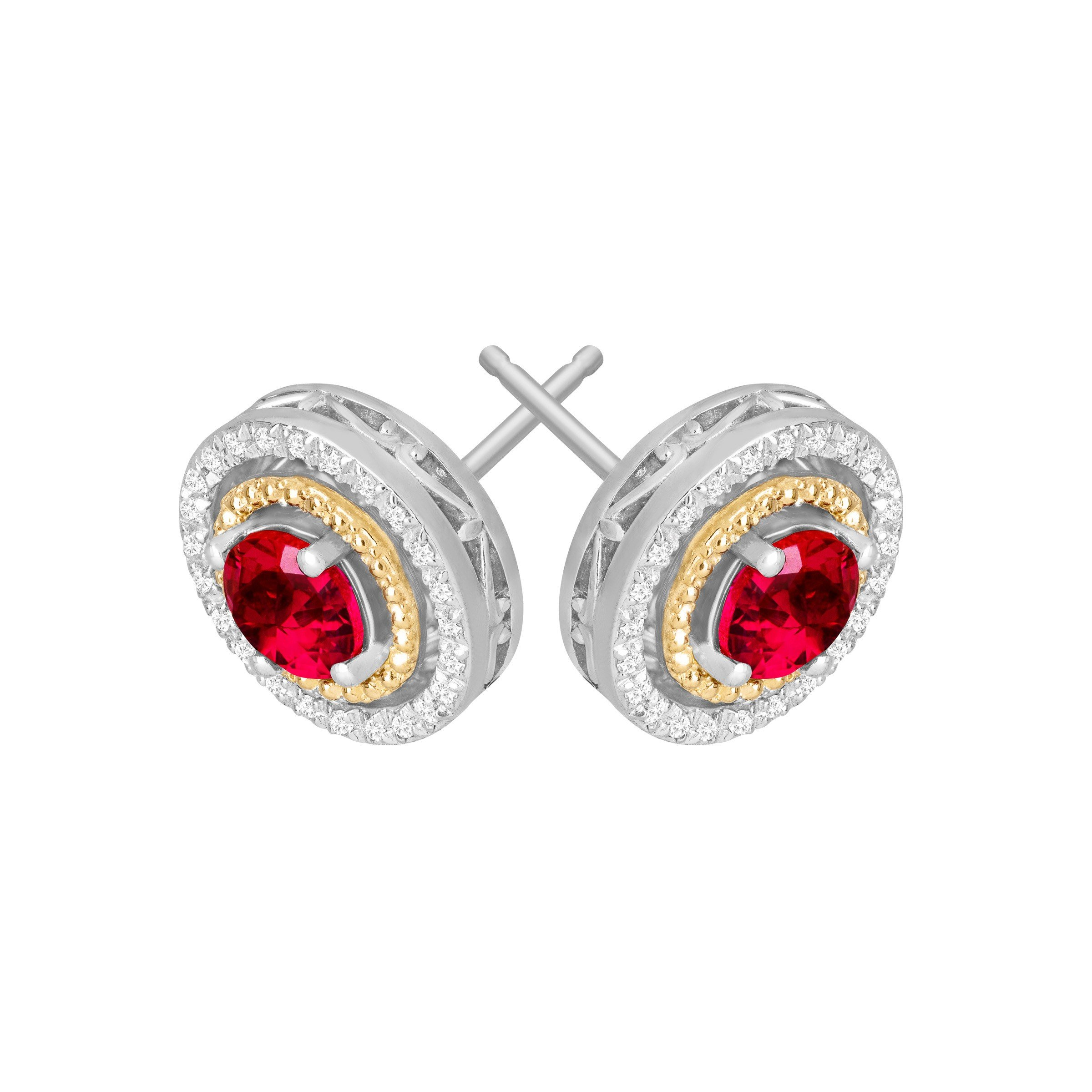 1 1/3 ct Created Ruby & 1/8 ct Diamond Stud Earrings in Sterling Silver and 14K Gold by Finecraft (Image #2)
