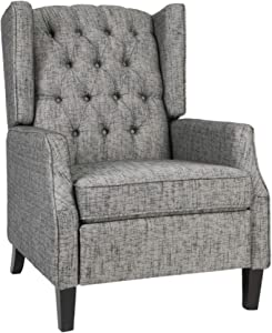 Christopher Knight Home Diana Wingback Recliner, Taupe + Dark Brown