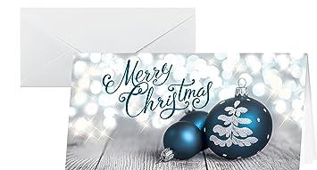 Weihnachtskarten Mit Kugelschreiber.Sigel Ds058 Weihnachtskarten Set Mit Umschlag Din Lang 25 Stück Blau Silber