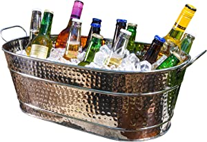 BREKX Colt Hammered Stainless-Steel, Mirror-Finish Beverage Tub, Ice and Drink Bucket with Handles, 15 Quarts