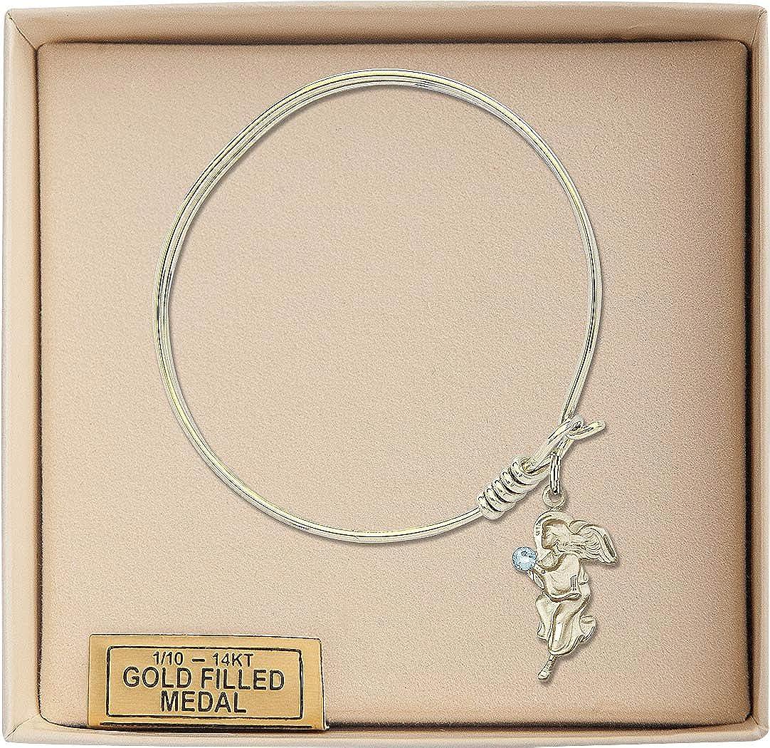 Guardian Angel Charm On A 6 1//4 Inch Round Eye Hook Bangle Bracelet
