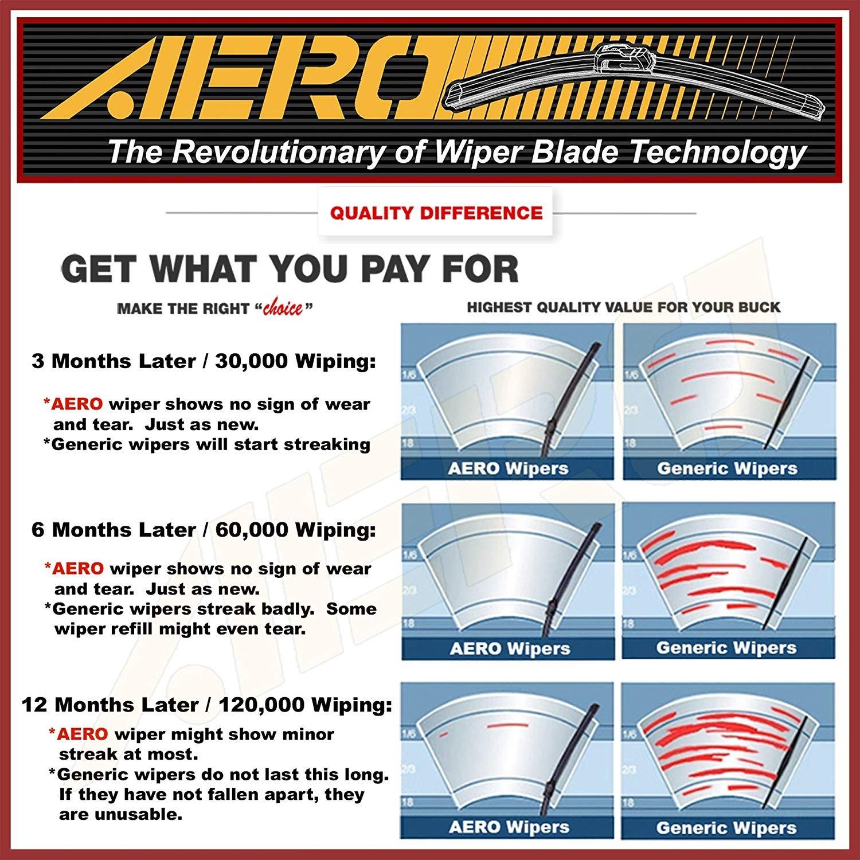 Set of 2 AERO 26 16 OEM Quality All Season Beam Windshield Wiper Blades