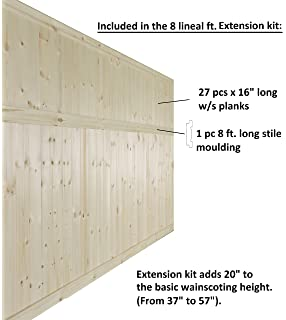 Allwood Pine Wainscot Extension Kit, 8 Lineal Feet Of Wall