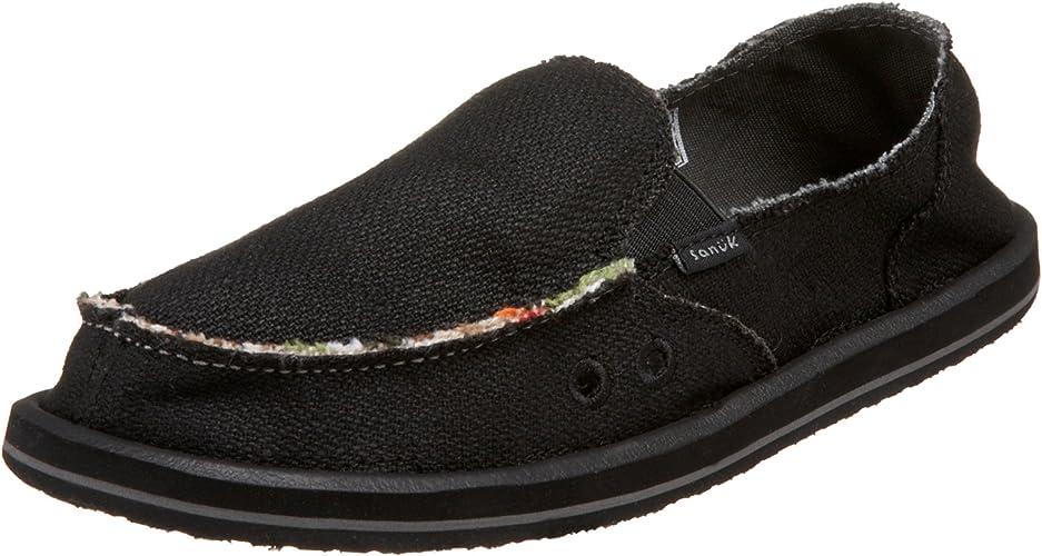 Sanuk Donna Hemp Women Shoes Slip-on Flat Sidewalk Surfer Black Natural Olive