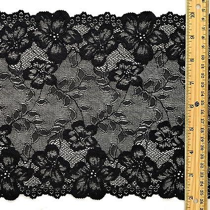 690d2fbb4f Image Unavailable. Image not available for. Color  BLACK Floral Raschel  Elastic Stretch Lace Trim ...