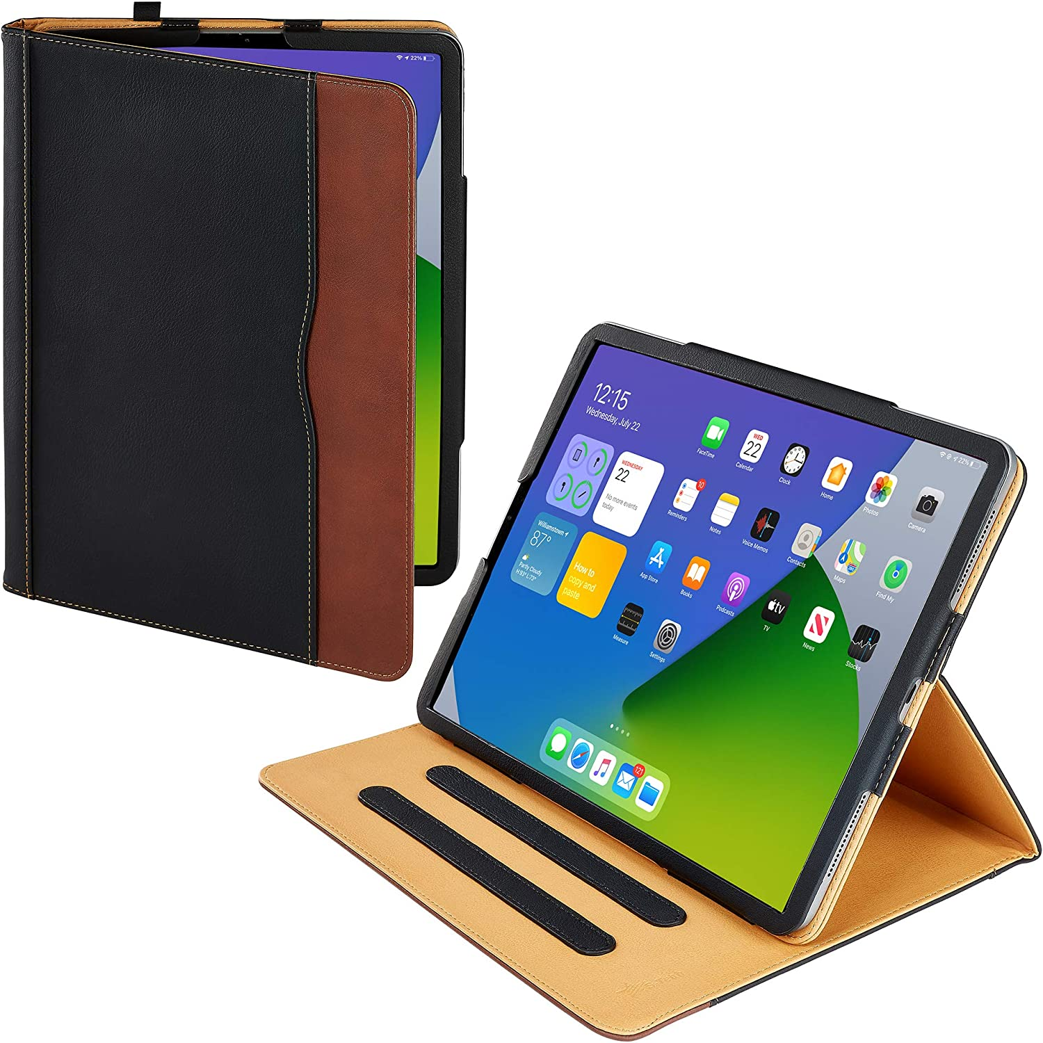 S-Tech Apple iPad Pro 12.9 3RD Generation ONLY 2018 Soft Leather Wallet Magnetic Smart Cover with Sleep/Wake Feature Flip Folio (Pro 12.9 3rd Gen 2018 Models A1876 A1983 A1895 A2014) (Black and Tan)