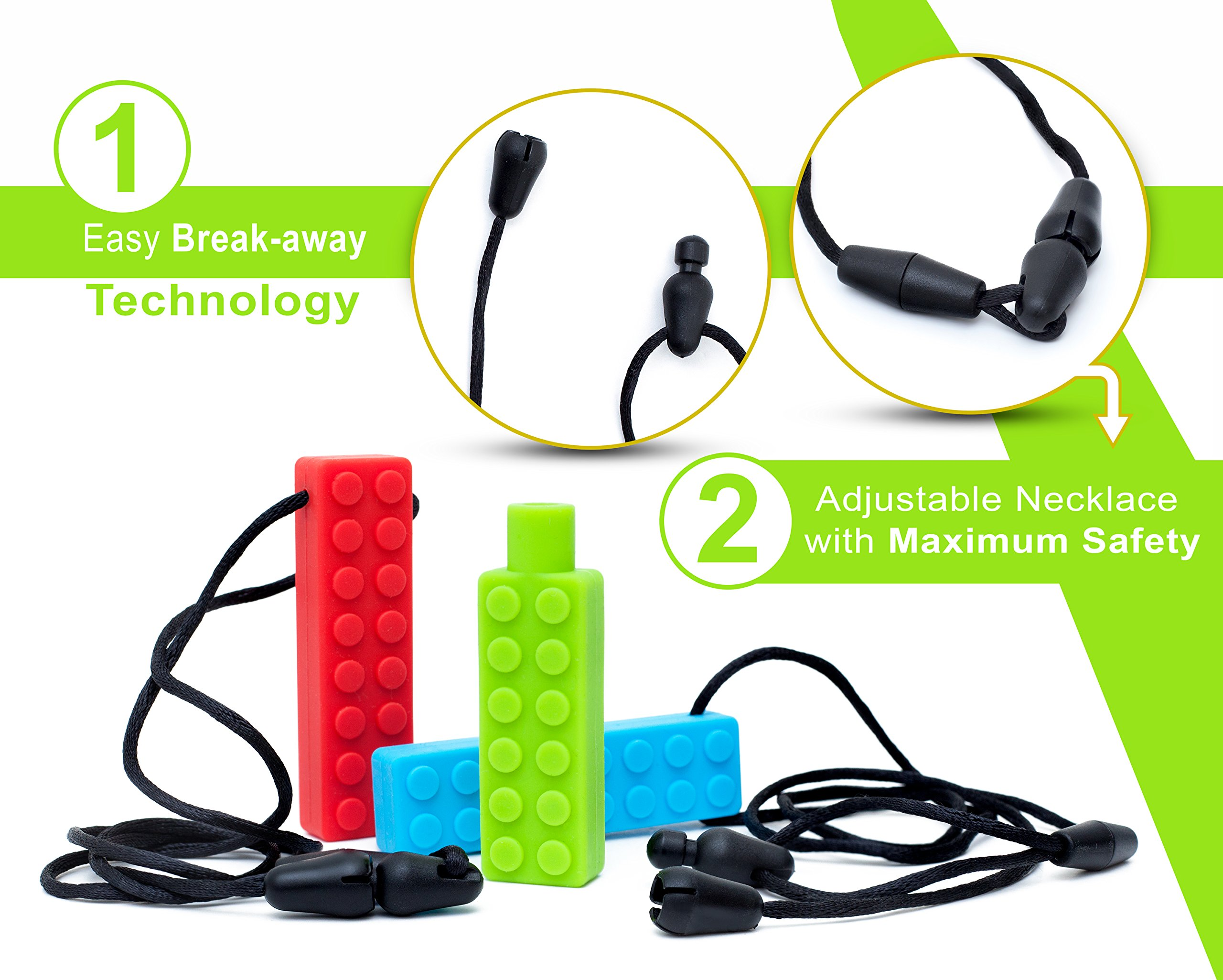Sensory Necklace (2 PACK + FREE PENCIL TOPPER) - Chewy Necklace - Sensory Chewelry for Kids with Autism ADHD Biting Needs - Chew Toy for Boys and Girls - MORE FIRM by Optimum (Image #2)