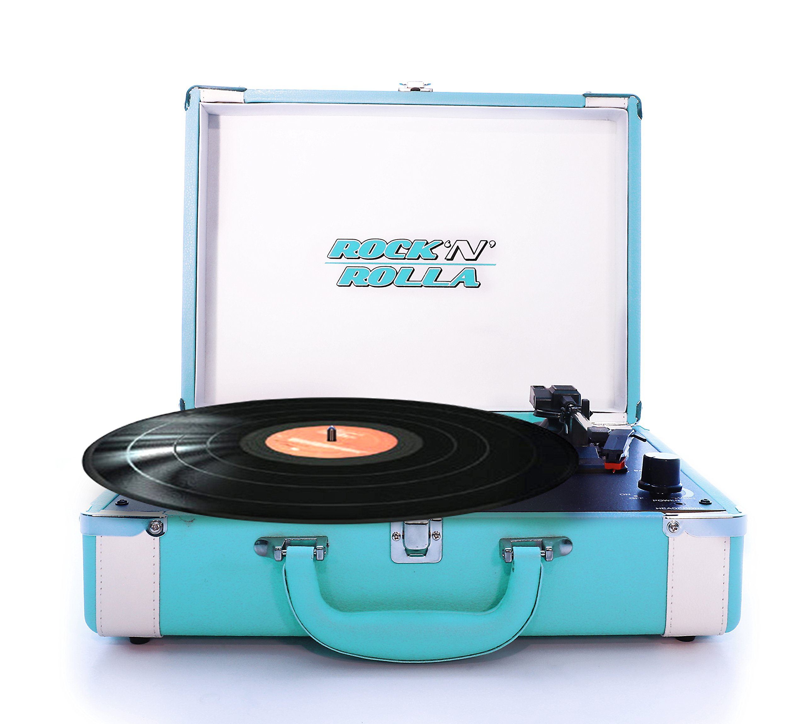 Rock 'N' Rolla Premium - Portable Bluetooth USB Vinyl Record Player Turntable - Teal / White