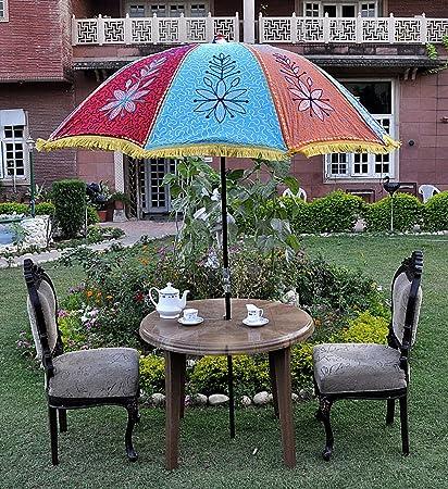 Indian Garden Umbrella Handmade Floral Embroidered 52 X 72 Inches - Amazon.com: Indian Garden Umbrella Handmade Floral Embroidered 52 X