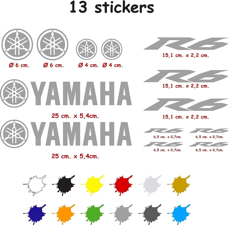 Kit de Pegatinas Troqueladas Compatible Yamaha r6 Vinilo 5 a 7 a/ños Gris Oscuro