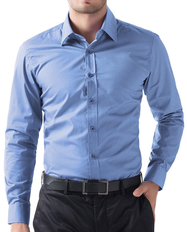 PAUL JONES Men's Classic Long Sleeves Lightweight Business Casual Dress Shirts (Medium, Blue) by PAUL JONES