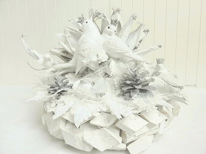 Weihnachtsdeko In Silber Und Weiß.Weihnachtsdeko Deko Advent Schneeromanze Tischdeko Shabby Wohndeko