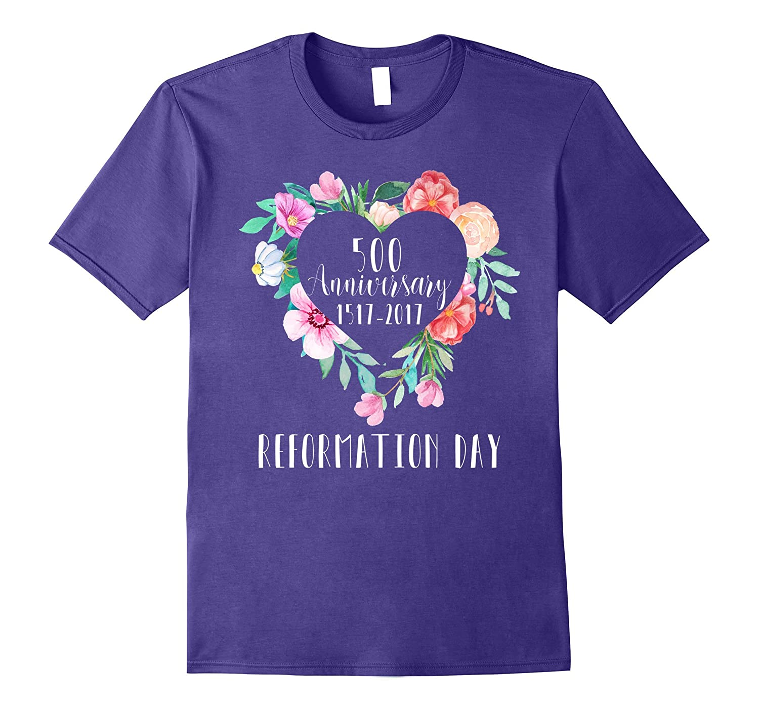Reformation Day 500 Anniversary Floral Rose Heart Tee-FL