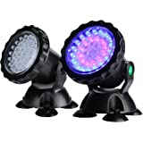 MUCH Underwater Light Waterproof  IP 68 Submersible Spotlight with 36-LED Bulbs 2.5W Color Changing Spot Light for Aquarium Garden Pond Pool Tank Fountain Waterfall (Set of 2)