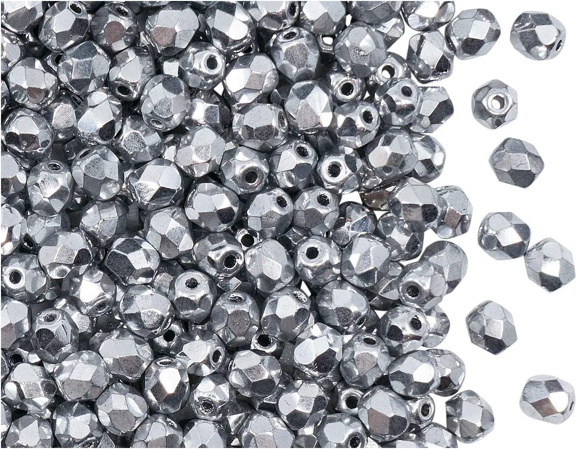 4mm Czech fire-polished beads glass