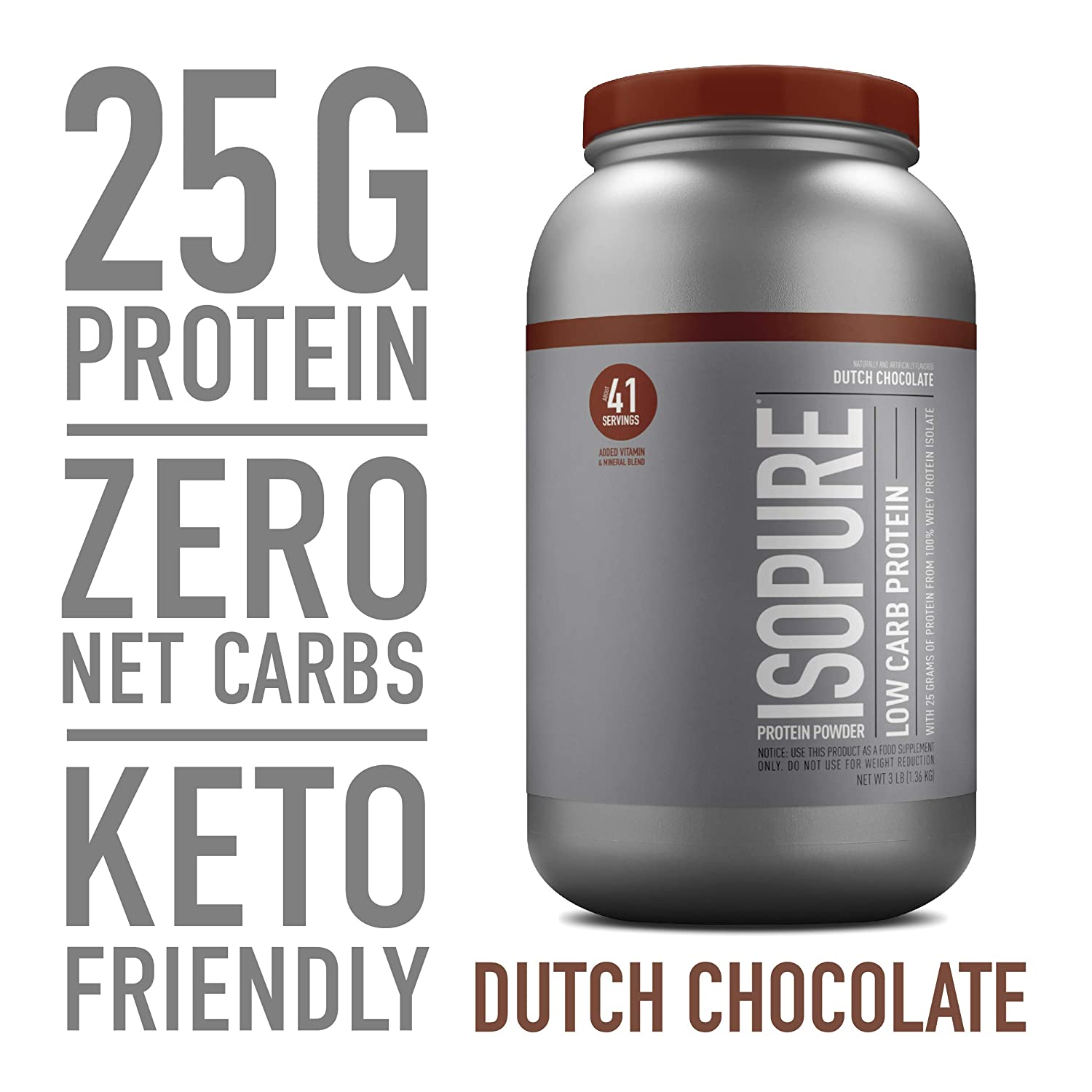 Isopure Low Carb, Keto Friendly Protein Powder, 100 Whey Protein Isolate, Flavor Dutch Chocolate, 3 Pounds