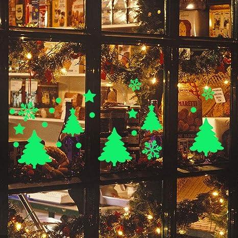 Flocon Fenetre Sticker Pere Noel fluo dans la nuit B Noel Stickers Vitrine Fenetre Autocollants Lumineuse Sapin de Noel
