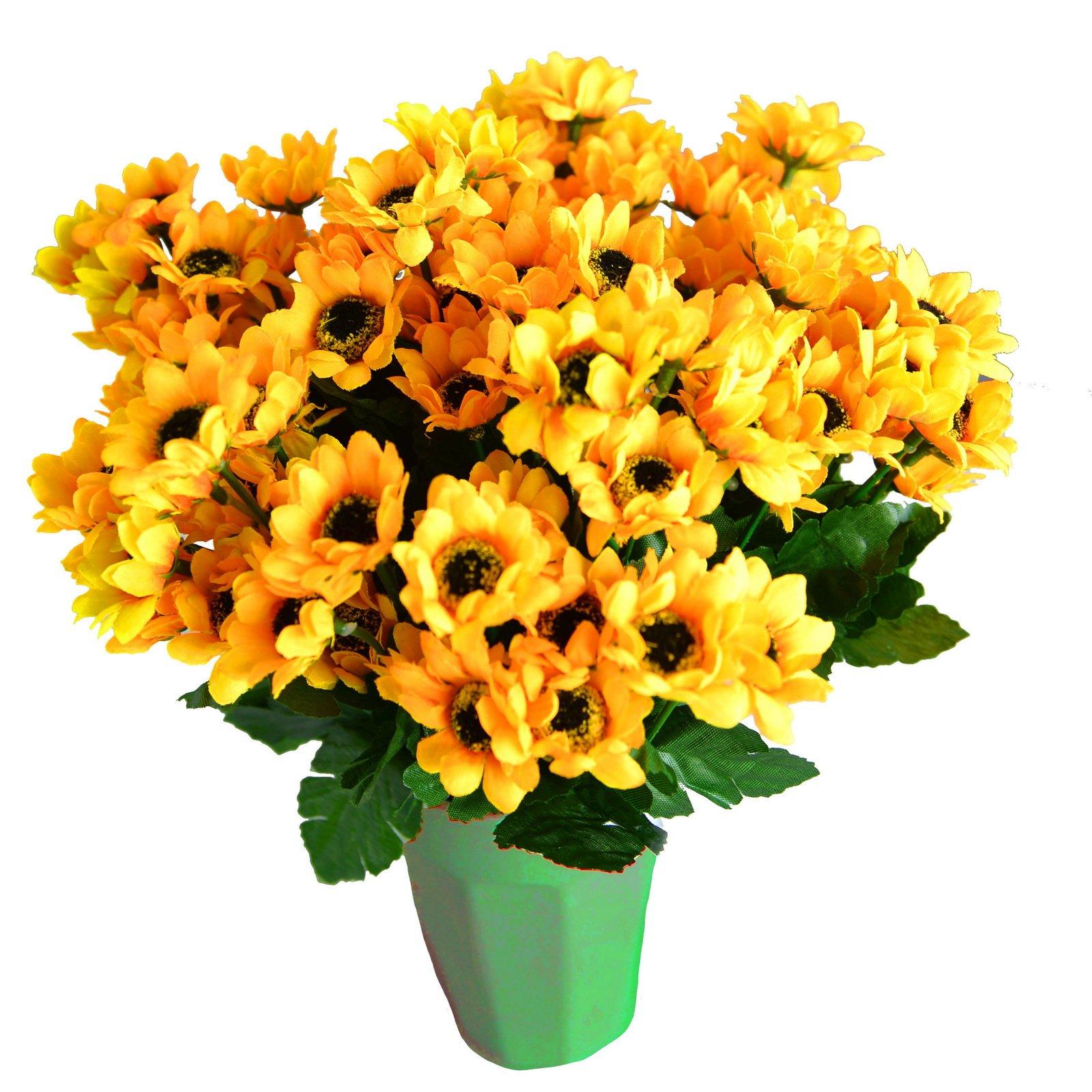 Kinwell Sunflowers Silk Artificial Flowers Floral Decor Bouquet 10 Bunches 14